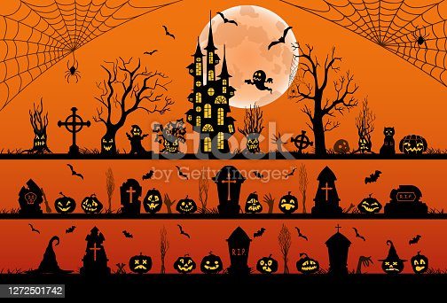Set of halloween silhouettes black icons and characters. Vector illustration. Isolated on an orange background.