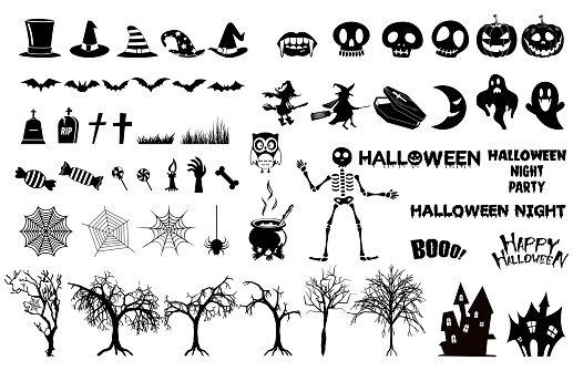 Set of halloween silhouettes icon., witch, creepy and spooky elements for halloween decorations, silhouettes, sketch, icon, sticker.