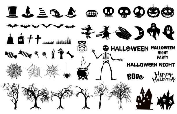illustrazioni stock, clip art, cartoni animati e icone di tendenza di set di icone delle sagome di halloween., strega, elementi raccapriccianti e spettrali per decorazioni di halloween, sagome, schizzo, icona, adesivo. - halloween