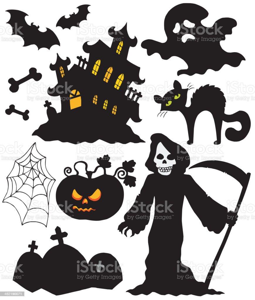Set of Halloween silhouettes royalty-free set of halloween silhouettes stock vector art & more images of animal