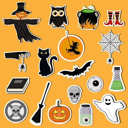 Set of Halloween stickers, color vector illustration in flat style, clipart, design, decoration, icon, sign, Doodle, scrapbooking