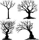 Set of halloween tree .