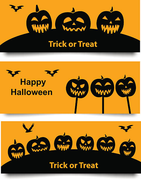 Set of Halloween web banner Set of Website spooky header and banner with Halloween pumpkin and bat. isolated object spooky halloween town stock illustrations