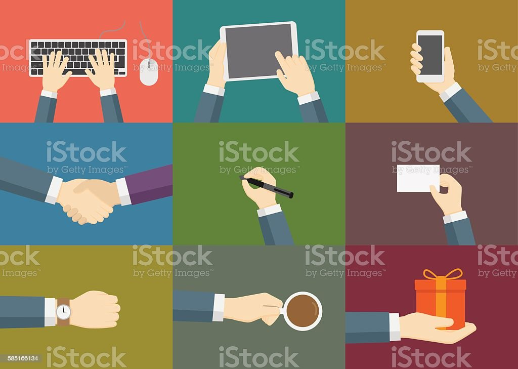 Set of Hand Activities Vector vector art illustration