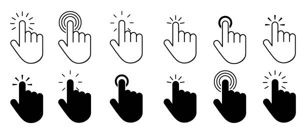 Set of hand cursor icons click Set of hand cursor icons click mouse stock illustrations