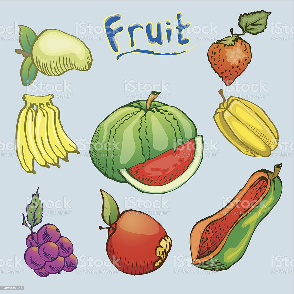 Set Of Hand Draw Fruits Isolated On Blue stock vector art 462335129 ...