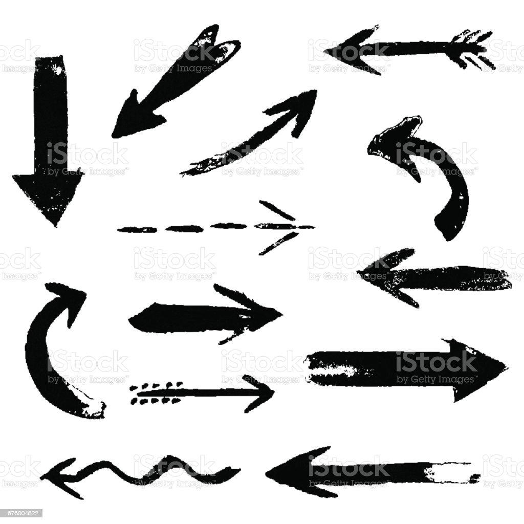Ensemble de flèches d'encre noire bande dessinée dessin main. Éléments de conception de peinture de main. - Illustration vectorielle