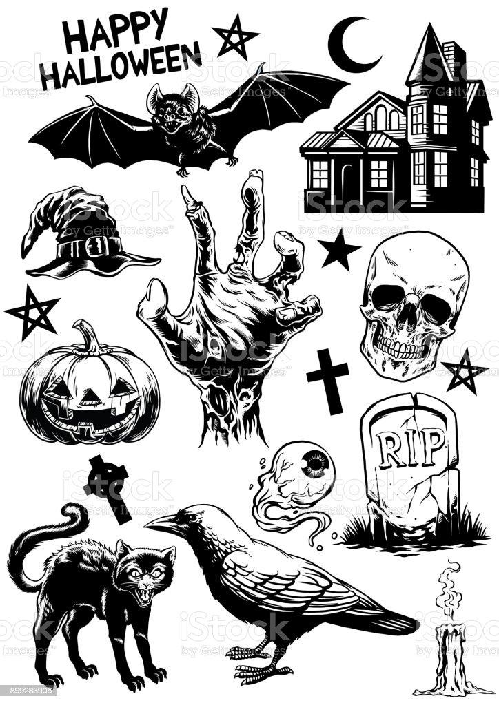 Ilustración de Conjunto De Dibujo De Objetos De Halloween En Blanco ...