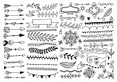 set of hand drawing page dividers borders and arrow, doodle floral design elements, vector illustration collection