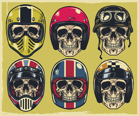 Set of hand drawing skulls wearing various of motorcycle helmet