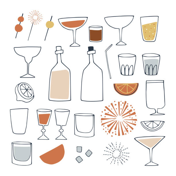 Set of hand drawn alcoholic and non alcoholic drinks, cocktails, wine bottles and drinking glass. Happy New Year, bar and celebration concept. Isolated vector icons. Set of hand drawn alcoholic and non alcoholic drinks, cocktails, wine bottles and drinking glass. Happy New Year, bar and celebration concept. Isolated vector icons. alcohol drink drawings stock illustrations