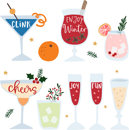 Set of hand drawn alcoholic drinks, cocktails with lettering quotes. Happy New Year celebration concept. Isolated vector icons. Flat design.