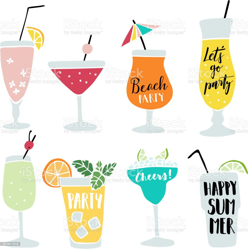 Set of hand drawn alcoholic drinks, cocktails with lettering quotes. Summer holiday and beach party concept. Isolated vector icons - illustrazione arte vettoriale