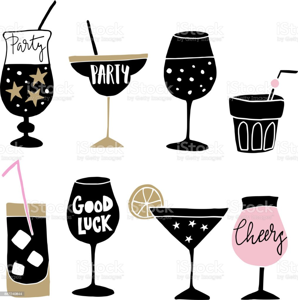 Set of hand drawn alcoholic drinks, cocktails with lettering quotes. Happy New Year celebration concept. Isolated vector icons - illustrazione arte vettoriale