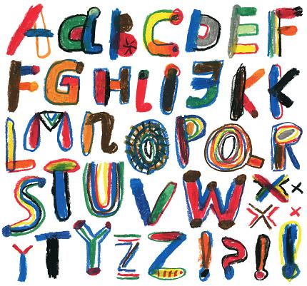 Set of hand drawn alphabet letters