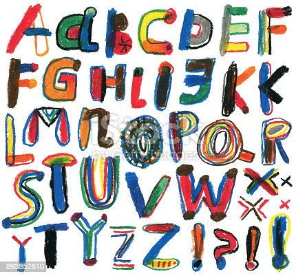 Hand drawn  alphabet. Drawn with oil pastels