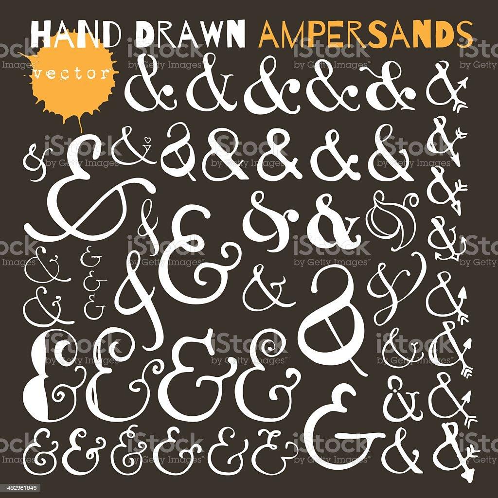 Set of hand drawn ampersands. Ink illustration. vector art illustration