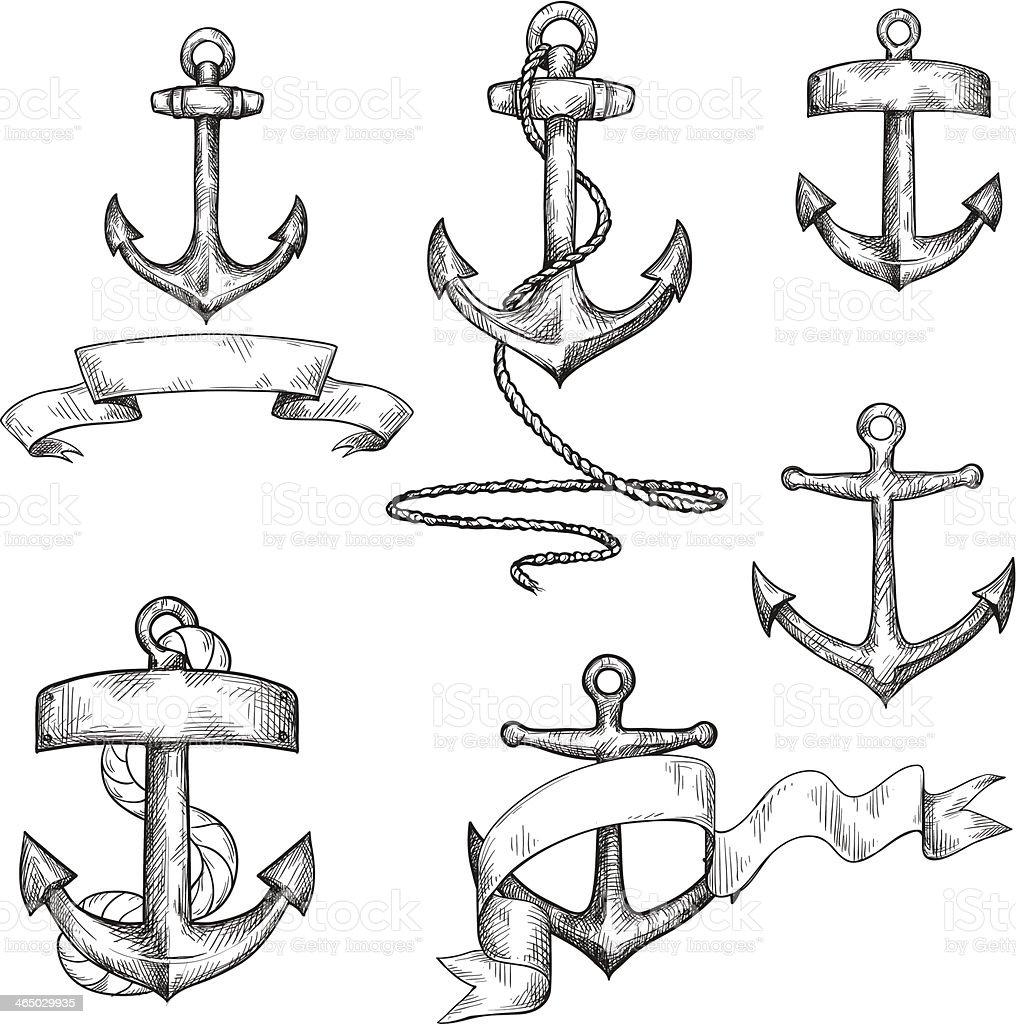 set of hand drawn anchors and ribbons vector art illustration