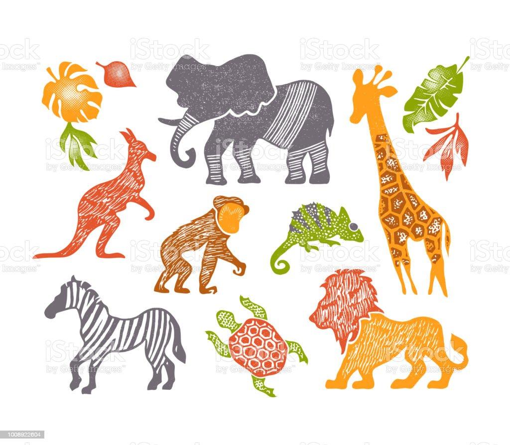 手描きの設定しテクスチャ動物かわいい動物園ベクトル イラストを分離