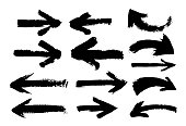 Set of Hand drawn arrows. Grunge texture. Freehand drawing. Vector illustration. Isolated on white background.