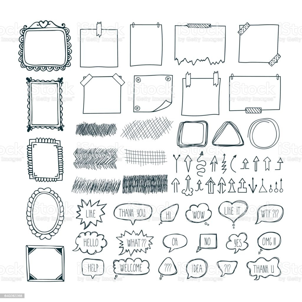Set of hand drawn arrows, speech bubbles, frames, note papers vector art illustration