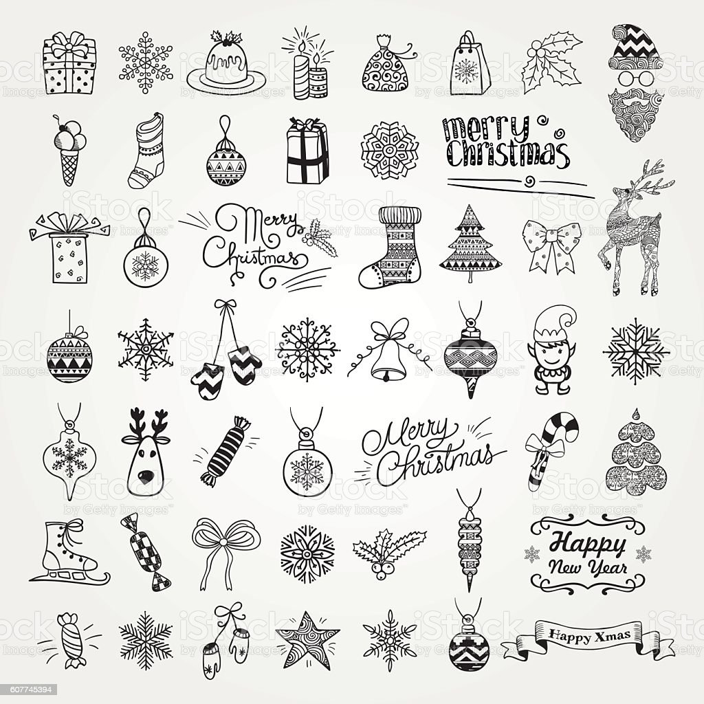 Set Of Hand Drawn Artistic Christmas Doodle Icons Stock ...
