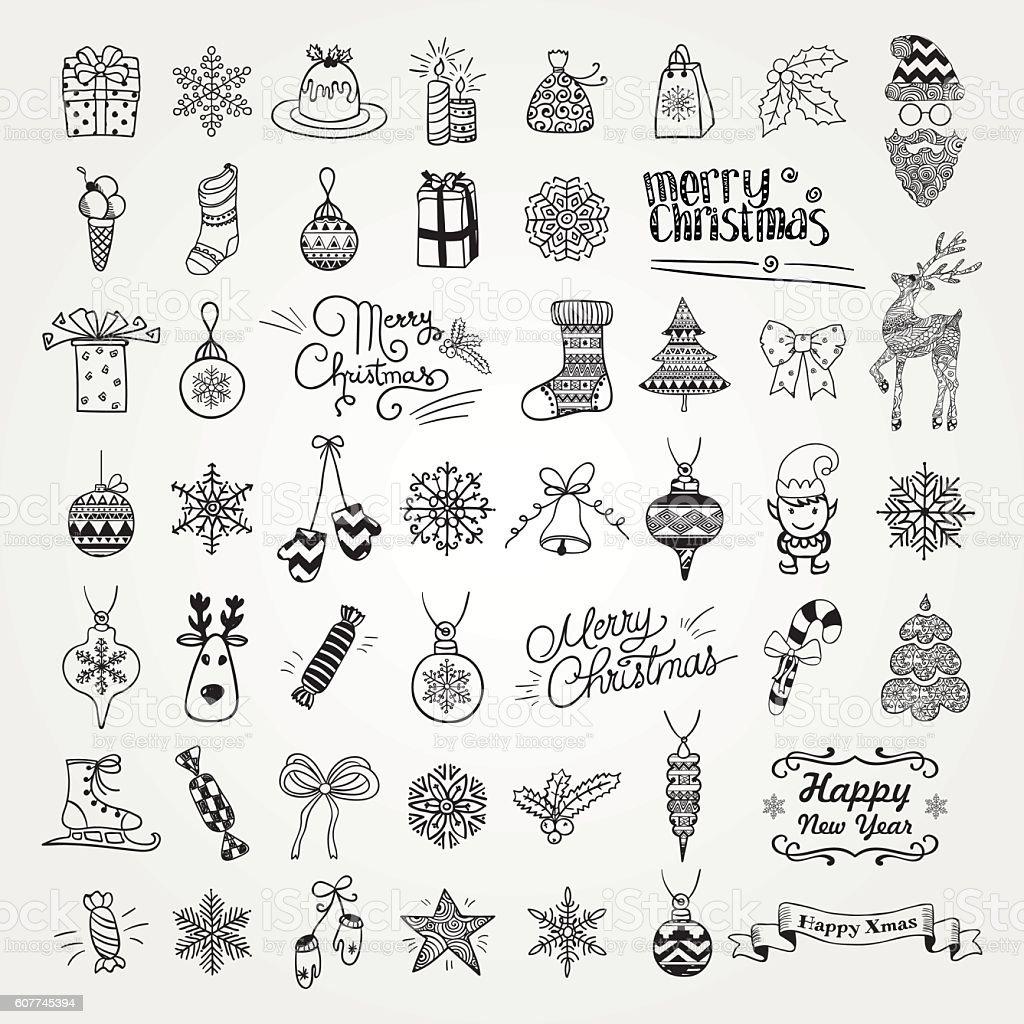 Conjunto de artísticos dibujados a mano Doodle iconos de Navidad. - ilustración de arte vectorial