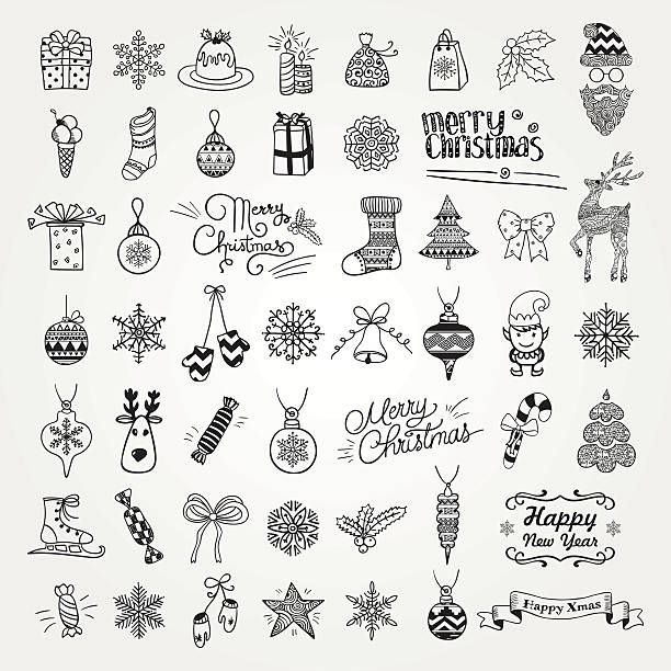 Set of Hand Drawn Artistic Christmas Doodle Icons. vector art illustration
