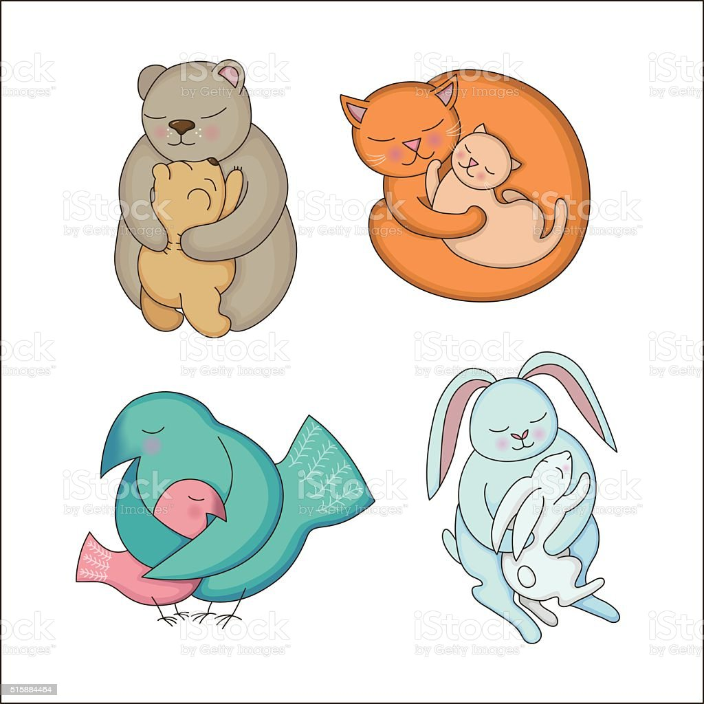 Set of hand drawn Baby and Mommy Animals vector art illustration