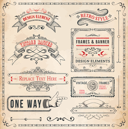 Set of Hand Drawn Banners and Frames