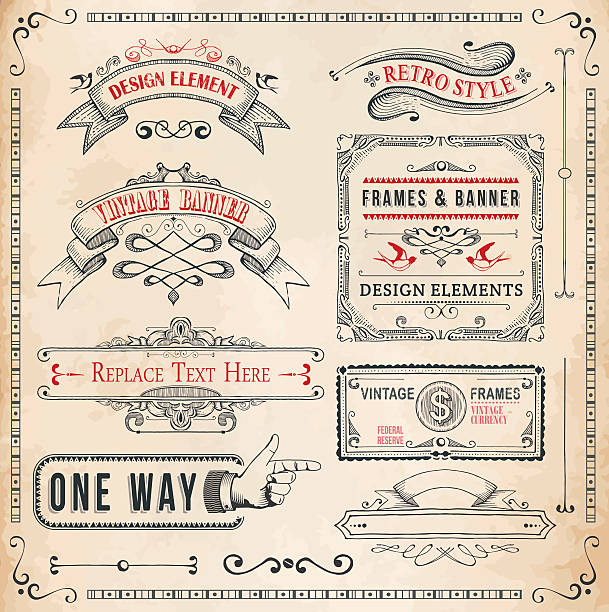 Set of Hand Drawn Banners and Frames Set of detailed hand drawn elements.File is grouped and layered with global colors obsolete stock illustrations