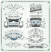 Set of detailed hand drawn elements on textured background.File is grouped and layered with global colors