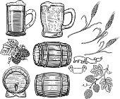 Set of hand drawn beer design elements. Hop, wheat, wood barrels, beer mugs. Design element for poster, card, menu, emblem, badge.