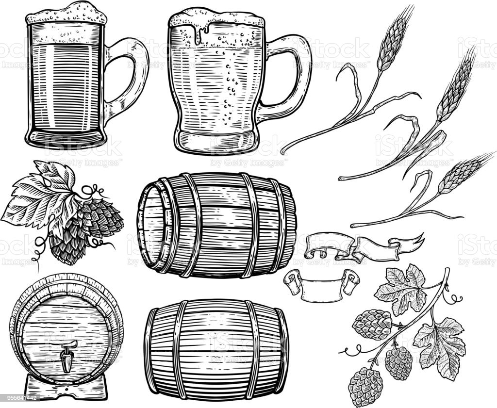 Set of hand drawn beer design elements. Hop, wheat, wood barrels, beer mugs. Design element for poster, card, menu, emblem, badge. vector art illustration