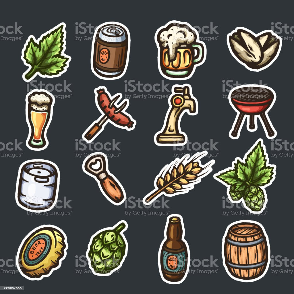 Set of hand drawn beer icons. vector art illustration