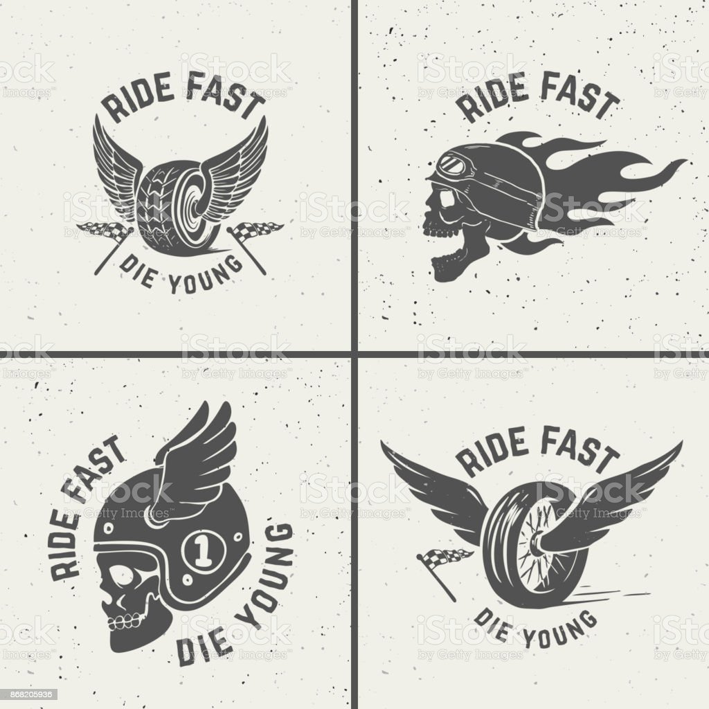 Set of hand drawn biker emblems. Skull with fire, winged wheel. vector art illustration