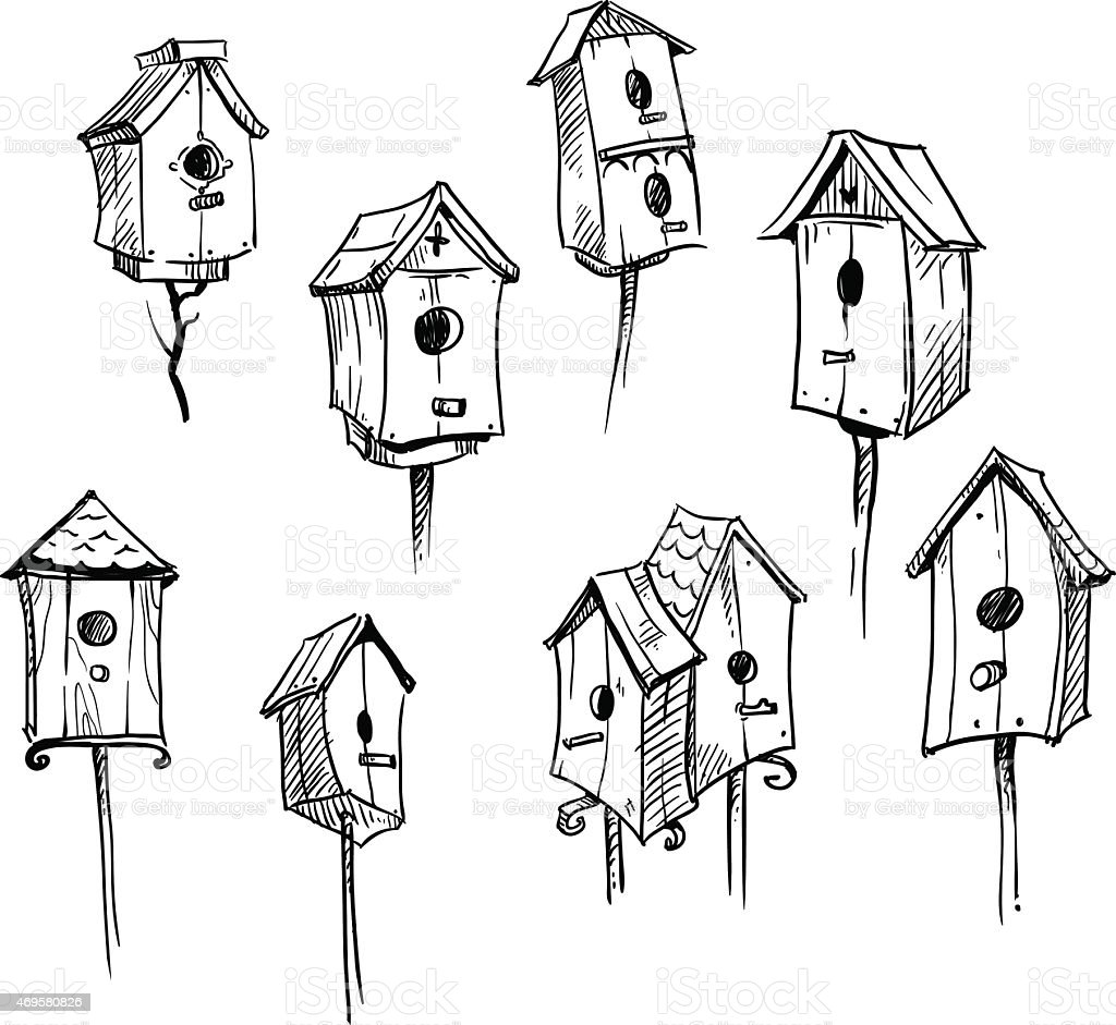 Set of hand drawn bird houses vector art illustration
