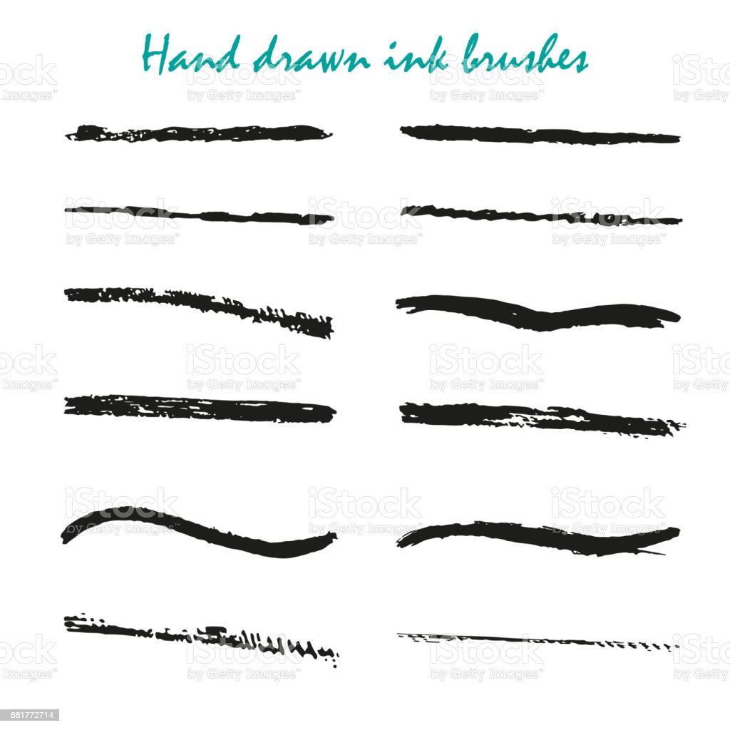 15c9d6b75152 Set Of Hand Drawn Black Paint Ink Brush Strokes Brushes Lines Stock ...