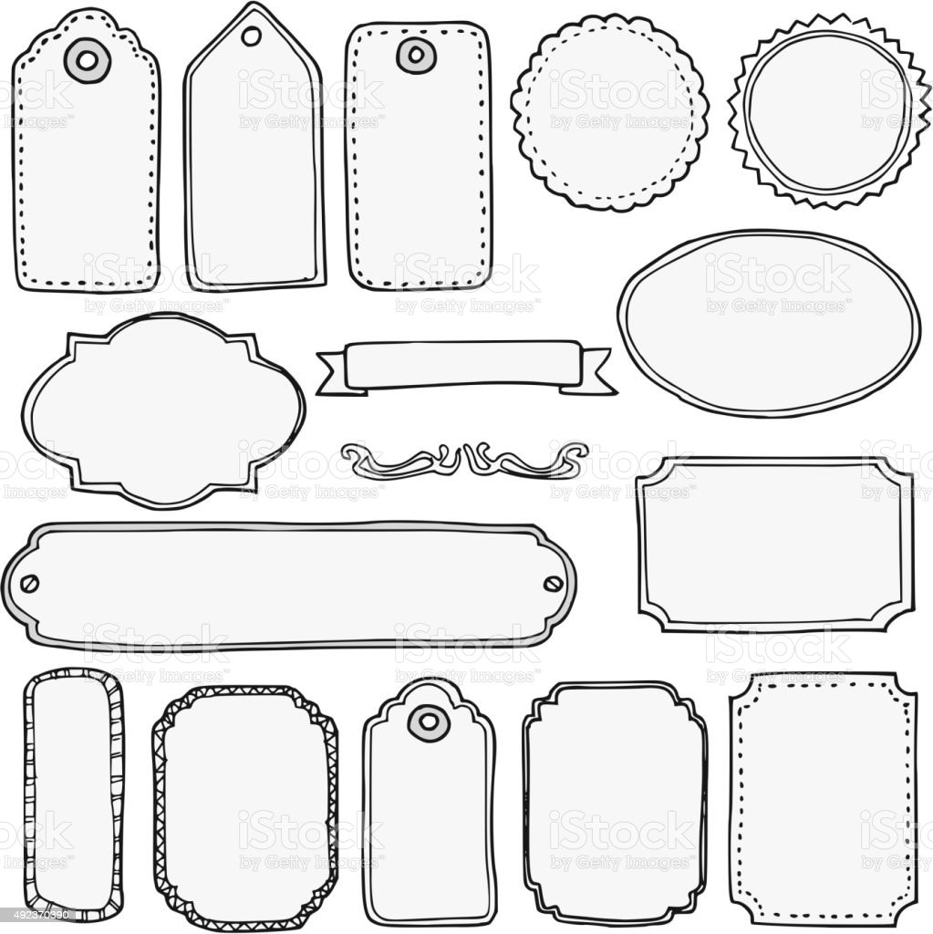 Set of hand drawn blank isolated vintage frames tags for Cuadros para poner fotos