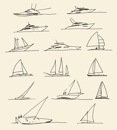Set of hand drawn boats, vector illustration
