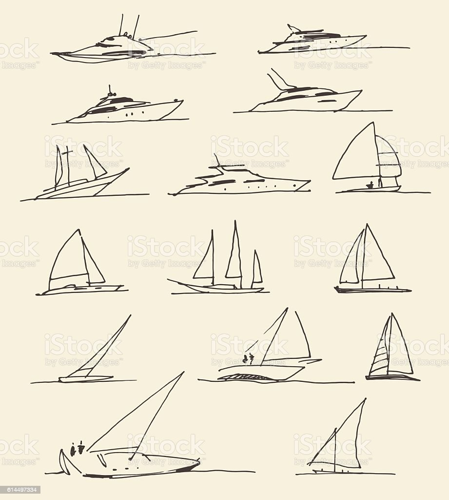 Set of hand drawn boats, vector illustration vector art illustration