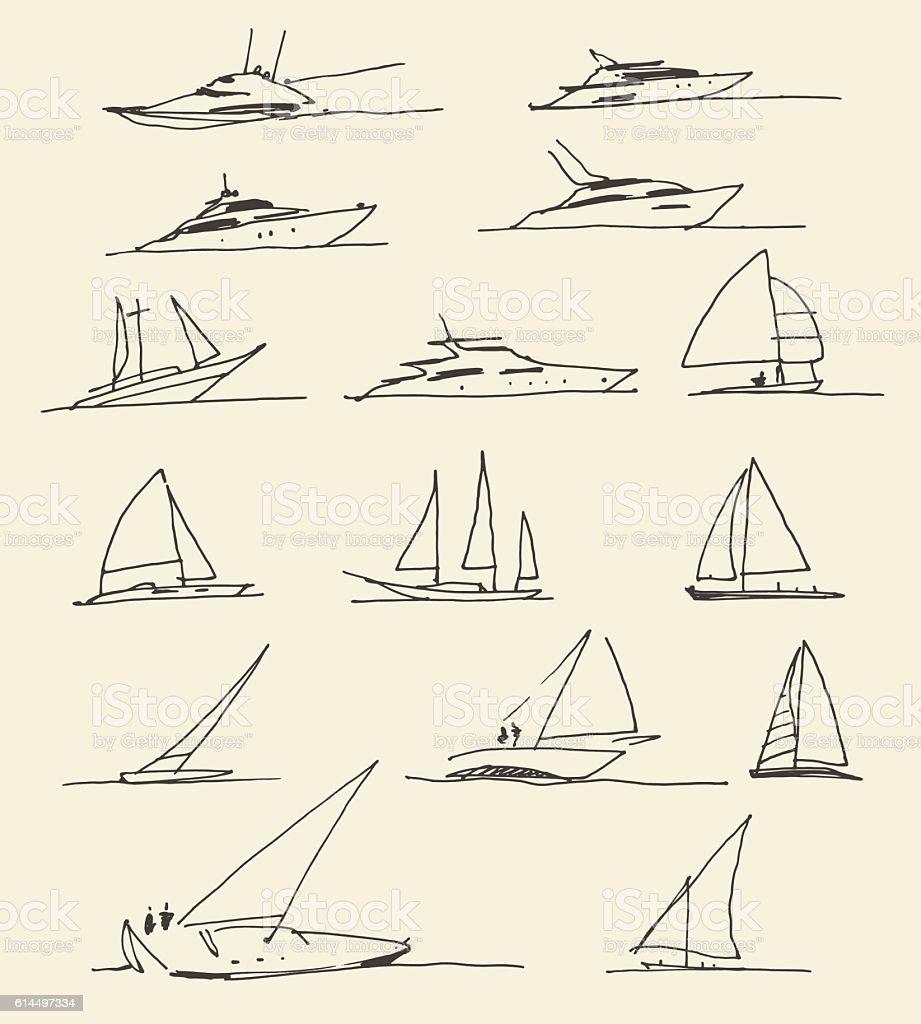 Set of hand drawn boats, vector illustration - Illustration vectorielle
