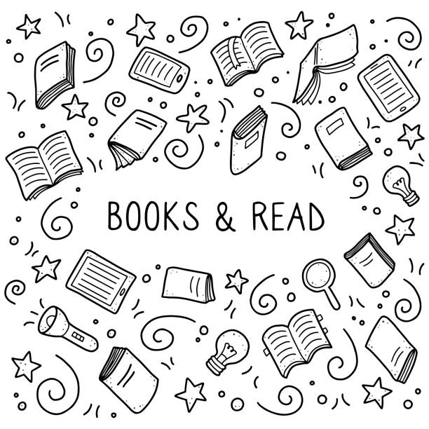 Set of hand drawn book doodle elements Hand drawn set of book doodle elements, education symbols. Vector illustration for book store, reading club, learning, library banner concept design. Doodle sketch style frame for text with copy space book drawings stock illustrations