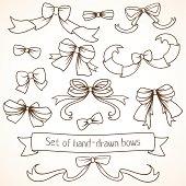 Set of hand drawn bows.
