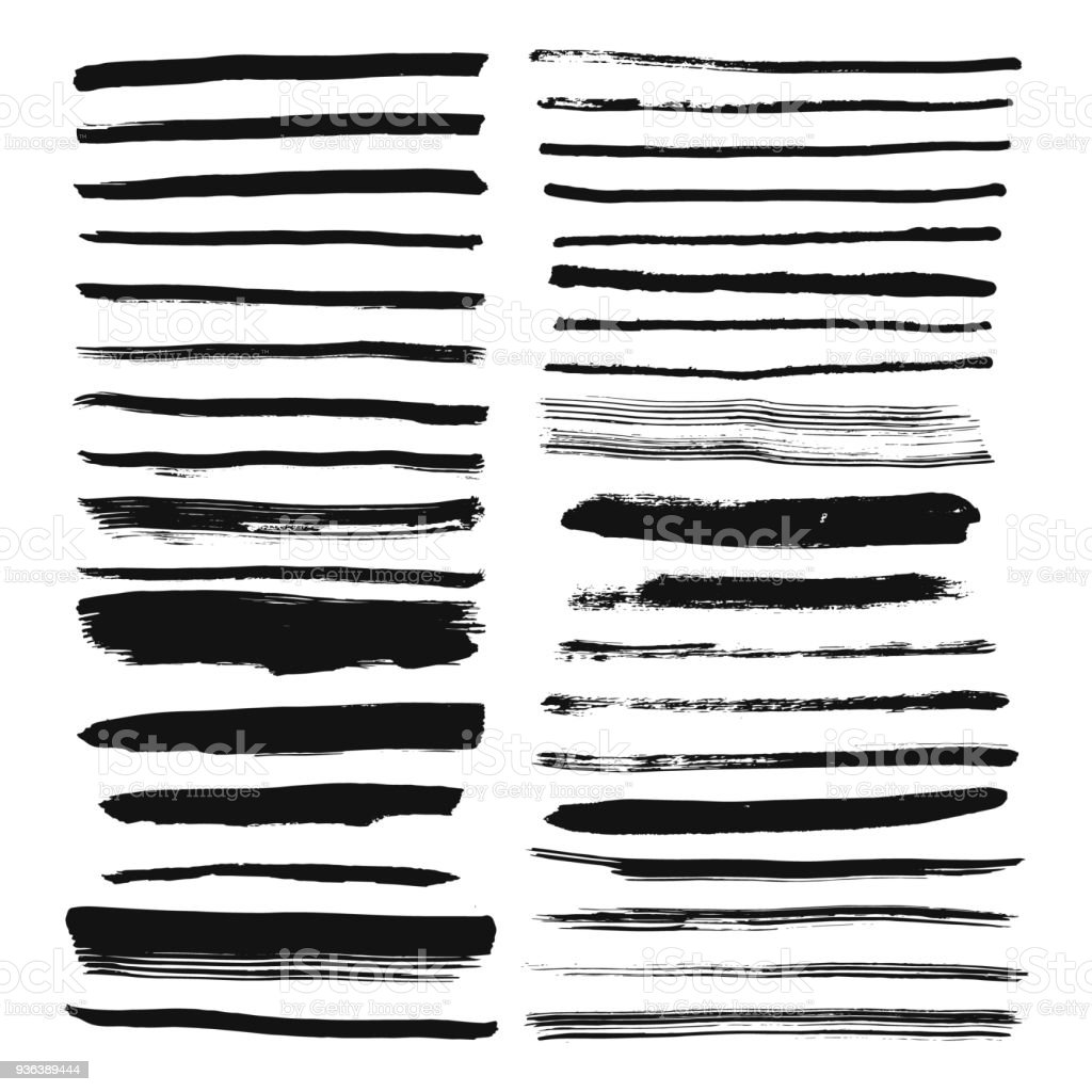 Set of hand drawn brush lines. Ink stroke and text dividers. vector art illustration