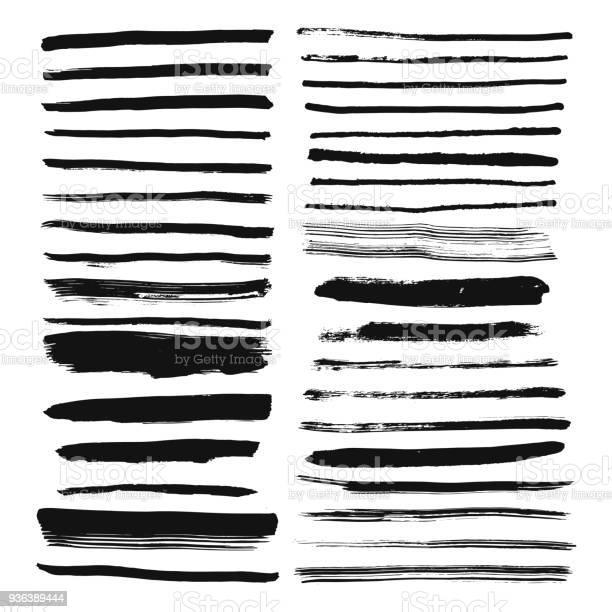 Set Of Hand Drawn Brush Lines Ink Stroke And Text Dividers - Arte vetorial de stock e mais imagens de Abstrato