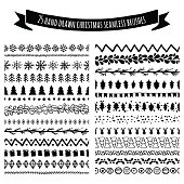 Set of doodle hand drawn seamless brushes, borders, dividers isolated on white background. Christmas, New Year holiday decor elements. Tribal trendy pattern. All brushes are included in brush palette.