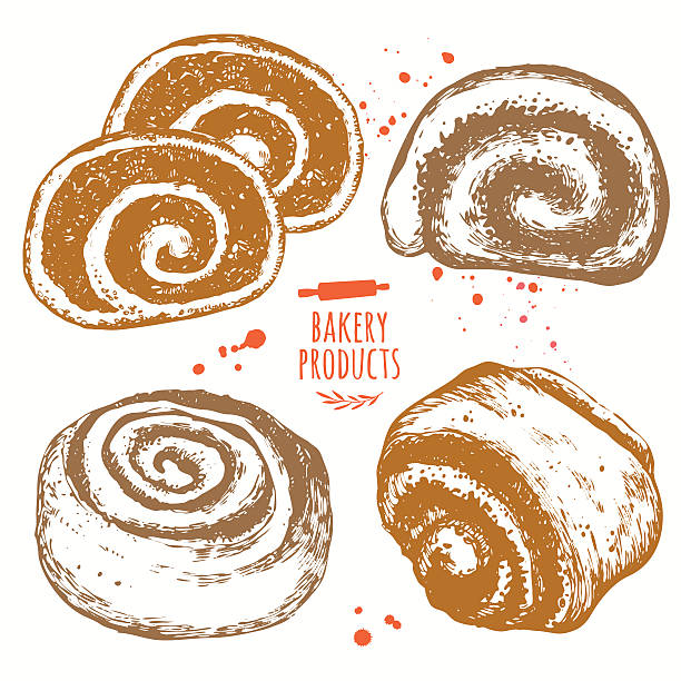 set of hand drawn buns and rolls. fresh organic food. - cinnamon roll stock illustrations, clip art, cartoons, & icons