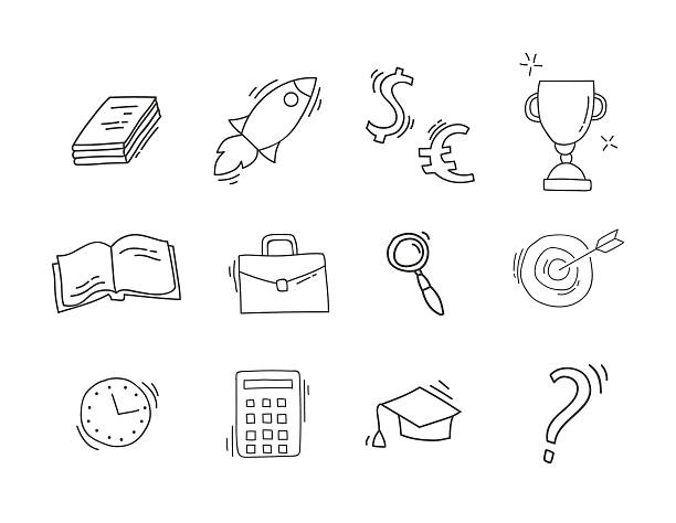 Set Of Hand Drawn Business Icons Vector Art Illustration