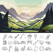 Set of hand drawn camping icons. Vector illustration.